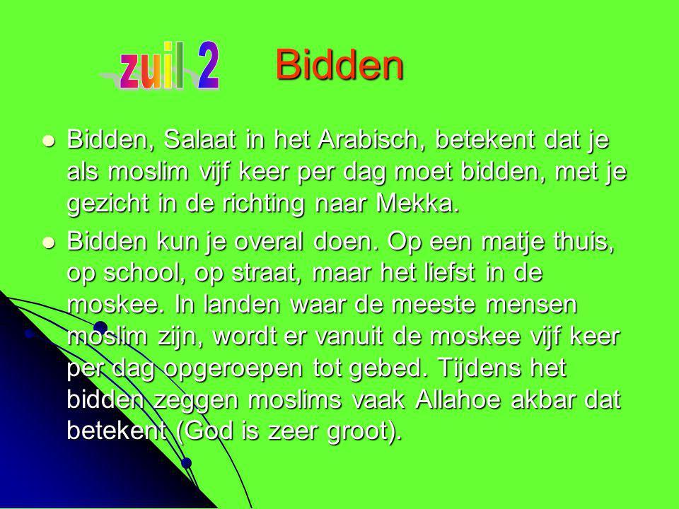 Bidden  Bidden, Salaat in het Arabisch, betekent dat je als moslim vijf keer per dag moet bidden, met je gezicht in de richting naar Mekka.  Bidden
