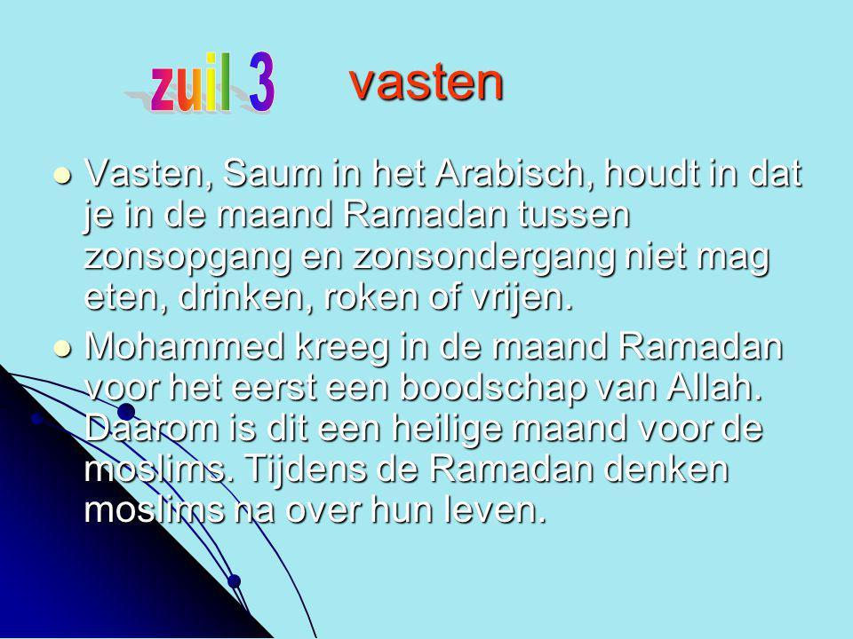 vasten VVVVasten, Saum in het Arabisch, houdt in dat je in de maand Ramadan tussen zonsopgang en zonsondergang niet mag eten, drinken, roken of vr
