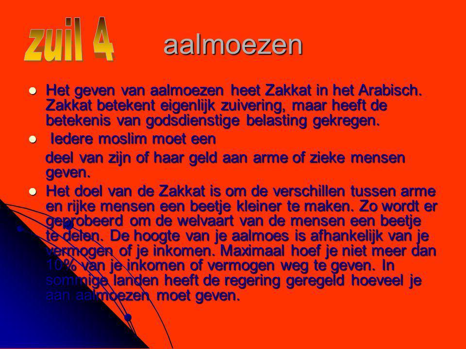 aalmoezen  Het geven van aalmoezen heet Zakkat in het Arabisch. Zakkat betekent eigenlijk zuivering, maar heeft de betekenis van godsdienstige belast