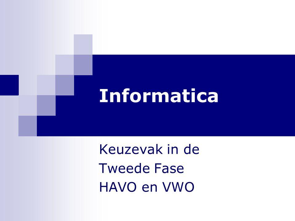 Informatica Keuzevak in de Tweede Fase HAVO en VWO