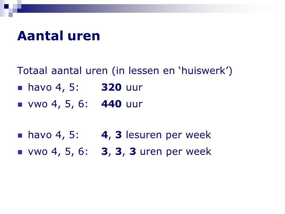 Aantal uren Totaal aantal uren (in lessen en 'huiswerk')  havo 4, 5: 320 uur  vwo 4, 5, 6:440 uur  havo 4, 5: 4, 3 lesuren per week  vwo 4, 5, 6:3