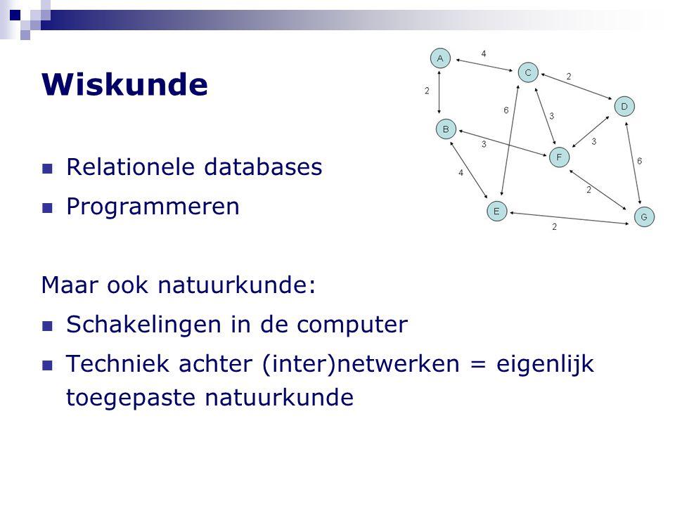 Wiskunde  Relationele databases  Programmeren Maar ook natuurkunde:  Schakelingen in de computer  Techniek achter (inter)netwerken = eigenlijk toe