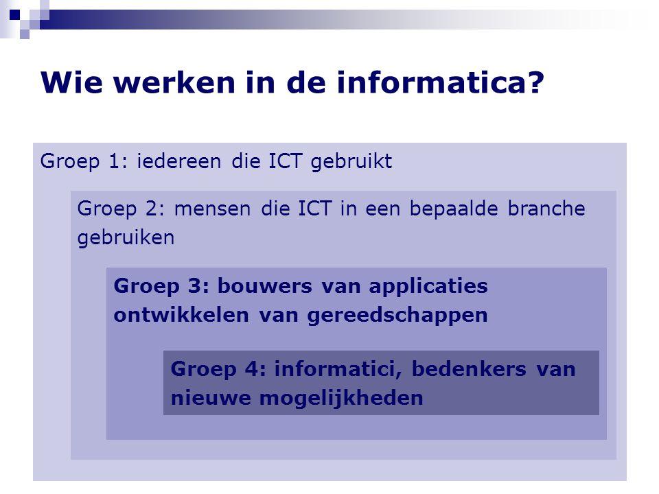 Wie werken in de informatica? Groep 1: iedereen die ICT gebruikt = bijna 100% van alle mensen Groep 2: mensen die ICT in een bepaalde branche gebruike