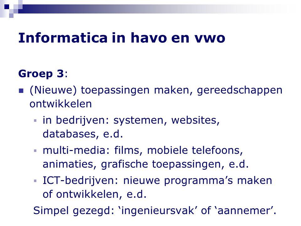 Informatica in havo en vwo Groep 3:  (Nieuwe) toepassingen maken, gereedschappen ontwikkelen  in bedrijven: systemen, websites, databases, e.d.  mu