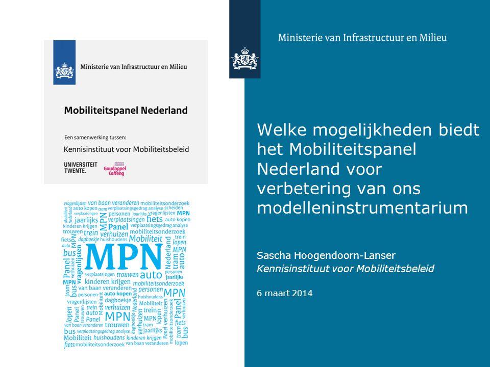 Welke mogelijkheden biedt het Mobiliteitspanel Nederland voor verbetering van ons modelleninstrumentarium Sascha Hoogendoorn-Lanser Kennisinstituut voor Mobiliteitsbeleid 6 maart 2014 Foto: Marcel Hoogeveen