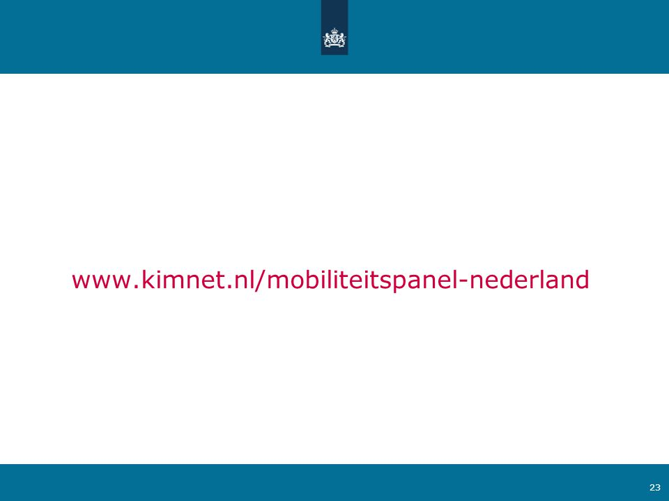 Ministerie van Verkeer en Waterstaat 23 www.kimnet.nl/mobiliteitspanel-nederland
