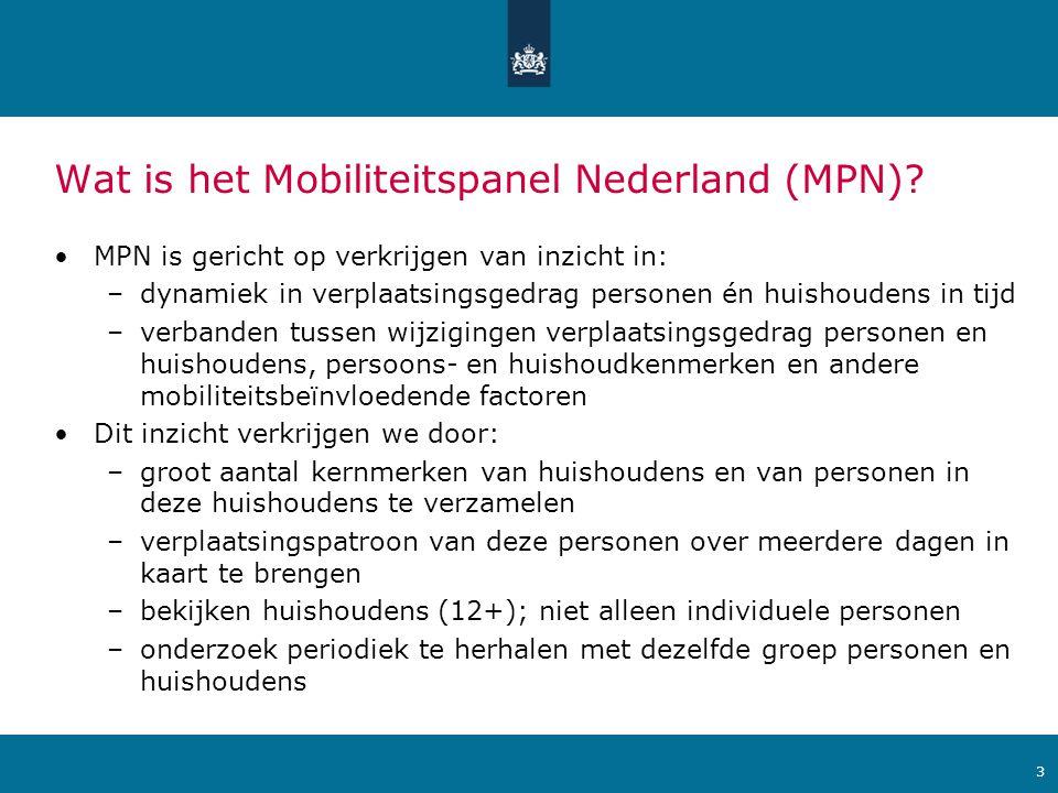Ministerie van Verkeer en Waterstaat Wat is het Mobiliteitspanel Nederland (MPN).