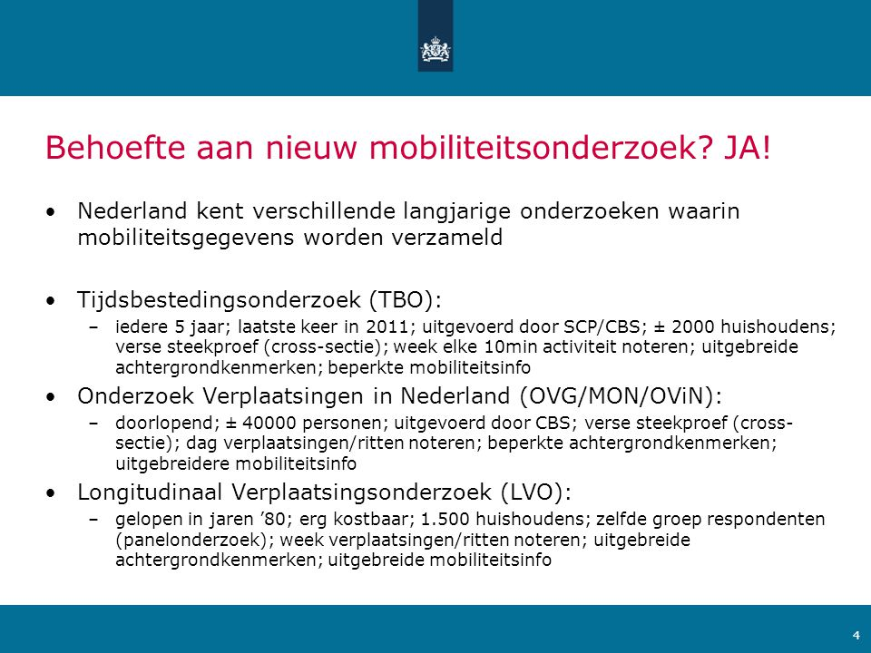Ministerie van Verkeer en Waterstaat Hoofdonderzoeksvragen MPN •Wat is invloed van veranderingen in leven van mensen op mobiliteit.