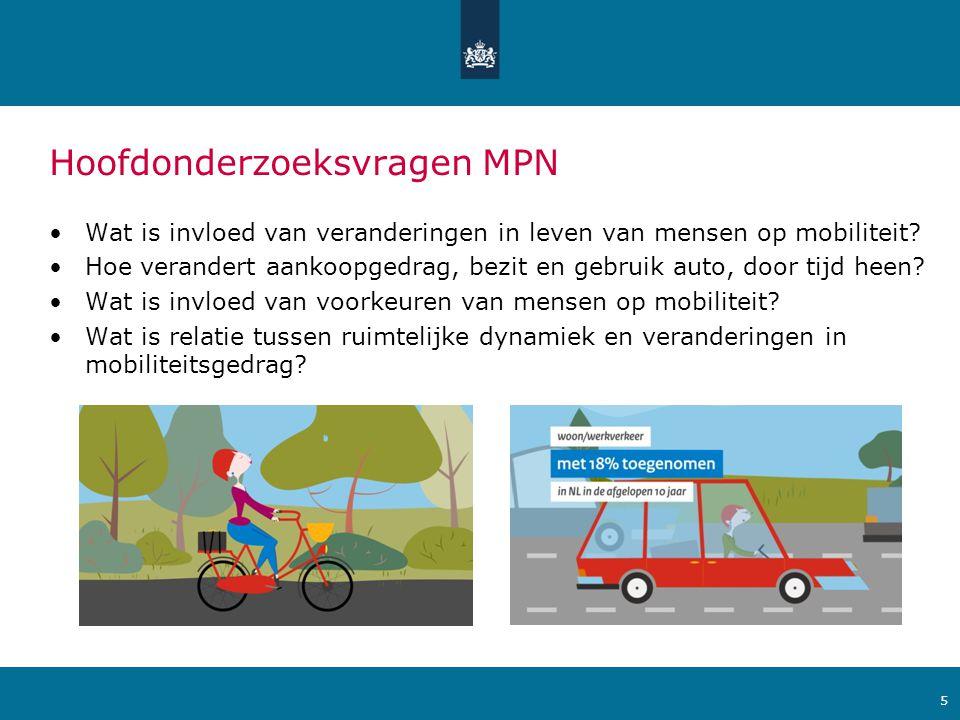 Ministerie van Verkeer en Waterstaat Voorbeeldvragen MPN •In welke mate verandert mobiliteitsgedrag wanneer iemand van baan verandert.