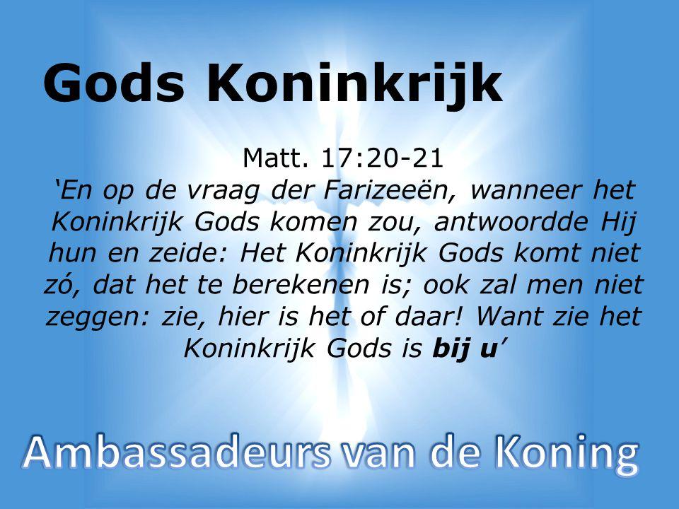 - Gods Koninkrijk in het grieks Basileia - Betekend: Koninkrijk en Koningschap - Koninkrijk is een rijk van rechtvaardigheid, vrede, blijdschap door de H.G.