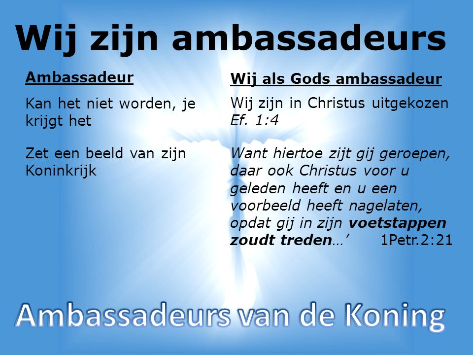 Wij zijn ambassadeurs Vertegenwoordigd de Koning Wij zijn dus gezanten van Christus 2 Cor.