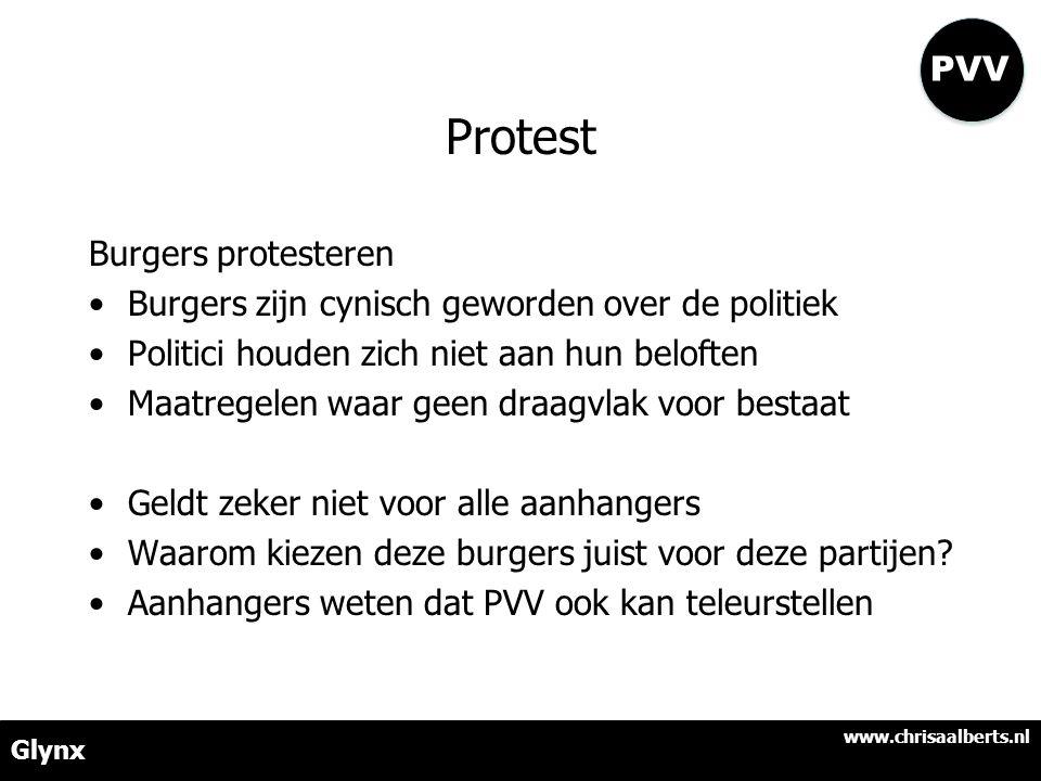 Protest Burgers protesteren •Burgers zijn cynisch geworden over de politiek •Politici houden zich niet aan hun beloften •Maatregelen waar geen draagvl