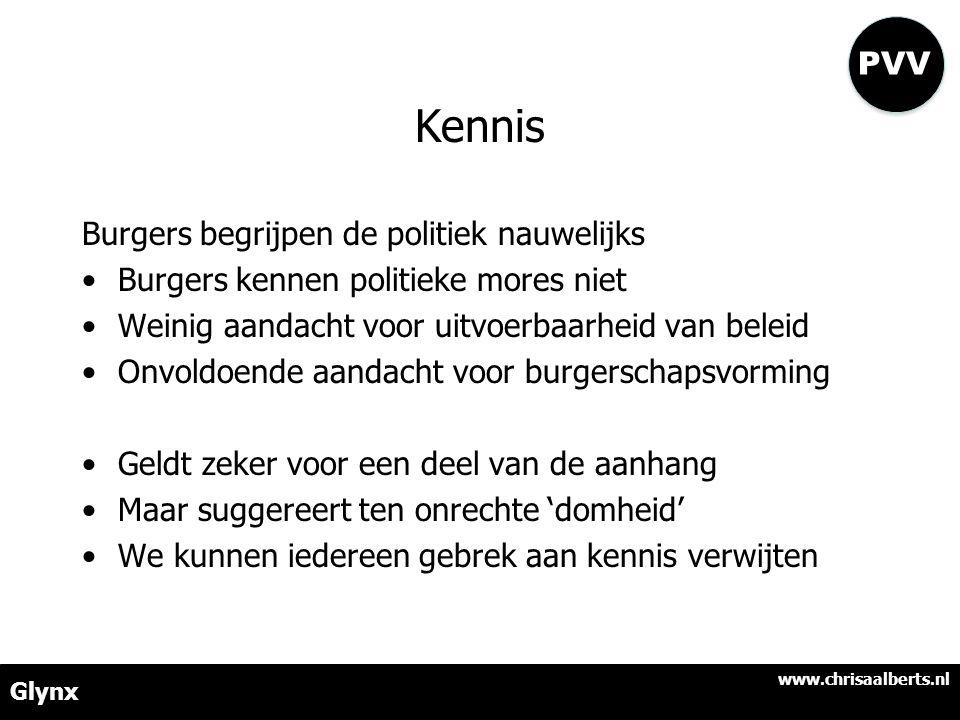 Kennis Burgers begrijpen de politiek nauwelijks •Burgers kennen politieke mores niet •Weinig aandacht voor uitvoerbaarheid van beleid •Onvoldoende aandacht voor burgerschapsvorming •Geldt zeker voor een deel van de aanhang •Maar suggereert ten onrechte 'domheid' •We kunnen iedereen gebrek aan kennis verwijten www.chrisaalberts.nl Glynx PVV