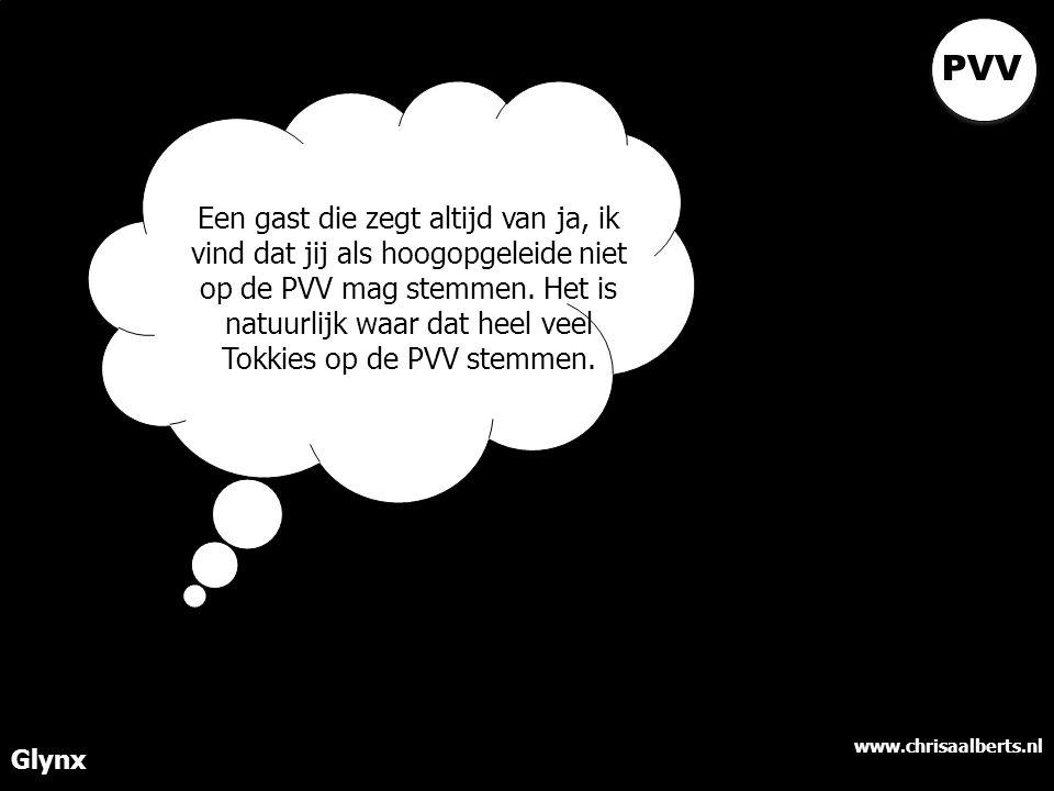 www.chrisaalberts.nl Glynx Een gast die zegt altijd van ja, ik vind dat jij als hoogopgeleide niet op de PVV mag stemmen.