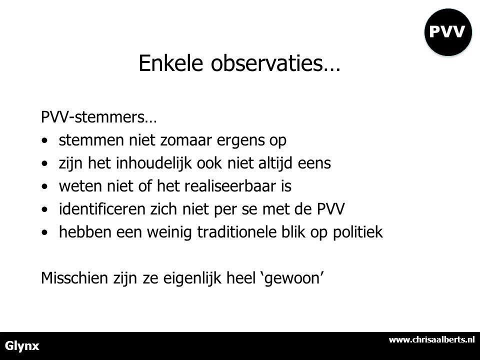 Enkele observaties… PVV-stemmers… •stemmen niet zomaar ergens op •zijn het inhoudelijk ook niet altijd eens •weten niet of het realiseerbaar is •identificeren zich niet per se met de PVV •hebben een weinig traditionele blik op politiek Misschien zijn ze eigenlijk heel 'gewoon' www.chrisaalberts.nl Glynx PVV