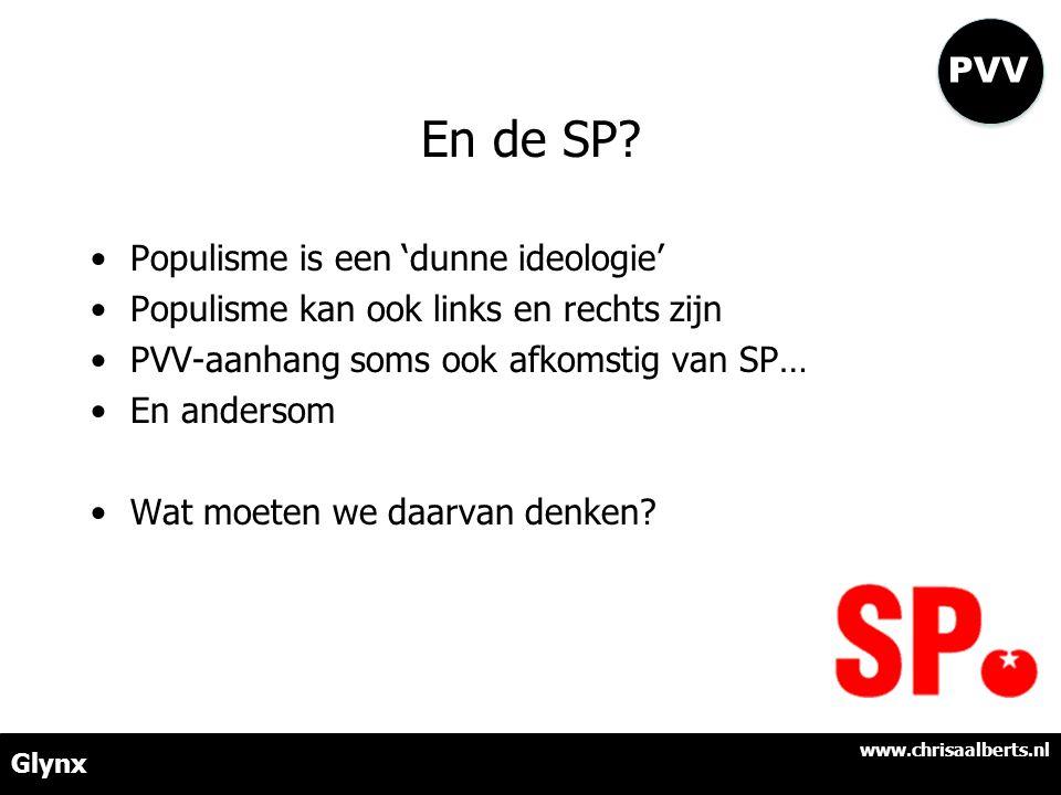 En de SP? •Populisme is een 'dunne ideologie' •Populisme kan ook links en rechts zijn •PVV-aanhang soms ook afkomstig van SP… •En andersom •Wat moeten