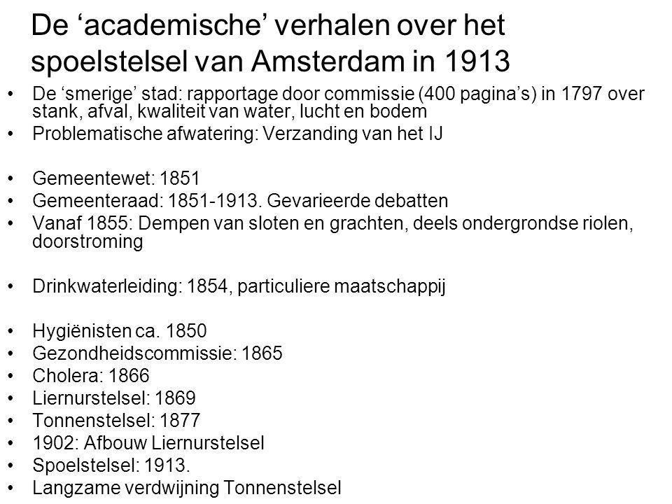 De 'academische' verhalen over het spoelstelsel van Amsterdam in 1913 •De 'smerige' stad: rapportage door commissie (400 pagina's) in 1797 over stank,