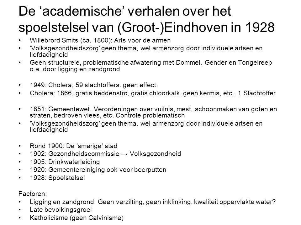 De 'academische' verhalen over het spoelstelsel van (Groot-)Eindhoven in 1928 •Willebrord Smits (ca. 1800): Arts voor de armen •'Volksgezondheidszorg'