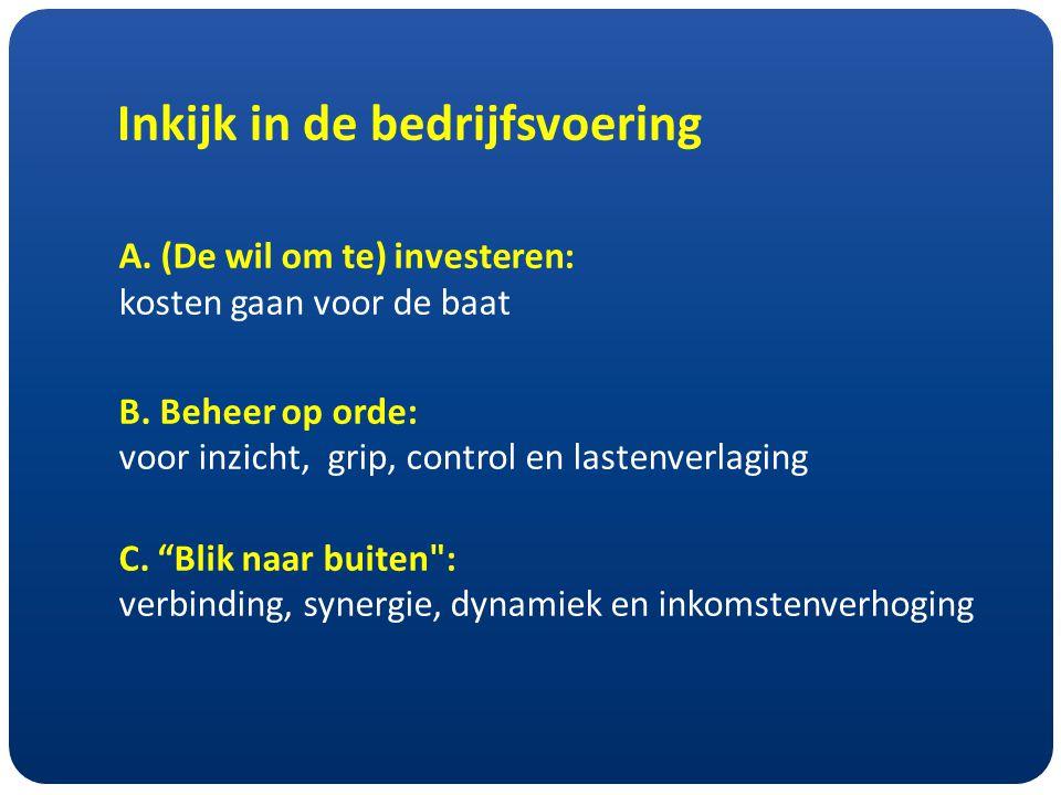 Inkijk in de bedrijfsvoering A. (De wil om te) investeren: kosten gaan voor de baat B.