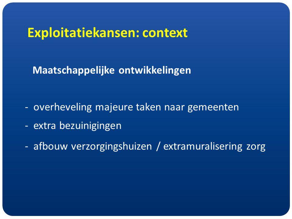Exploitatiekansen: context Maatschappelijke ontwikkelingen -overheveling majeure taken naar gemeenten -extra bezuinigingen - afbouw verzorgingshuizen / extramuralisering zorg