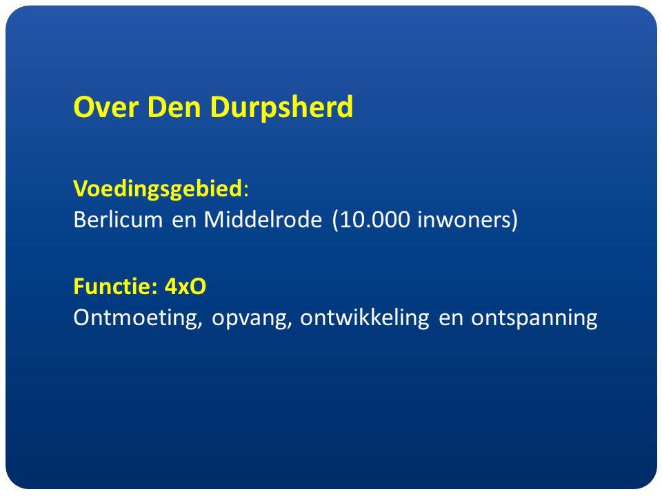 Over Den Durpsherd Voedingsgebied: Berlicum en Middelrode (10.000 inwoners) Functie: 4xO Ontmoeting, opvang, ontwikkeling en ontspanning