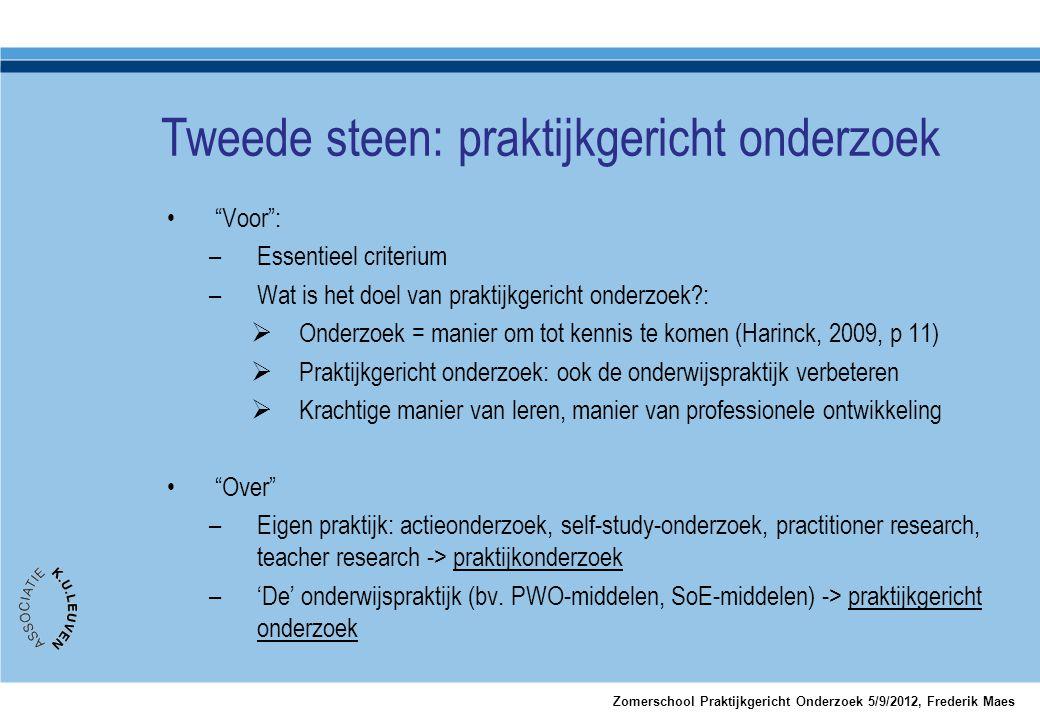 """•""""Voor"""": –Essentieel criterium –Wat is het doel van praktijkgericht onderzoek?:  Onderzoek = manier om tot kennis te komen (Harinck, 2009, p 11)  Pr"""