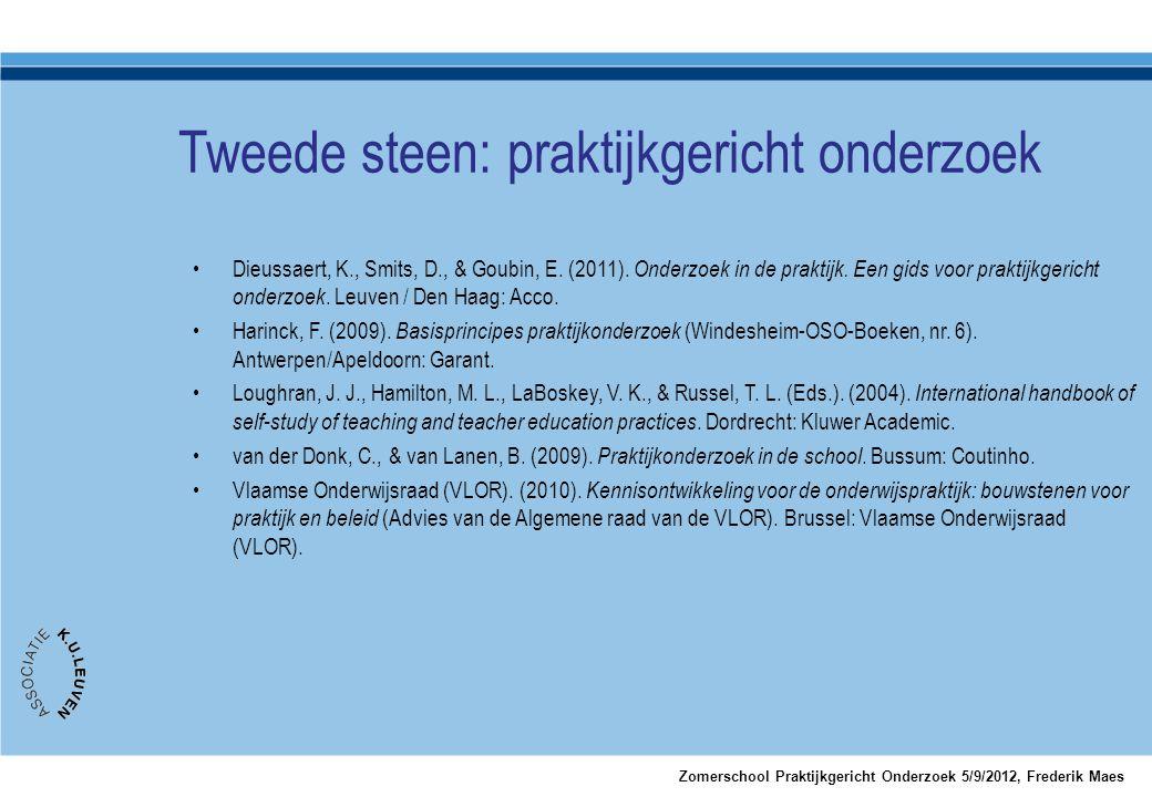 Tweede steen: praktijkgericht onderzoek Zomerschool Praktijkgericht Onderzoek 5/9/2012, Frederik Maes •Dieussaert, K., Smits, D., & Goubin, E. (2011).