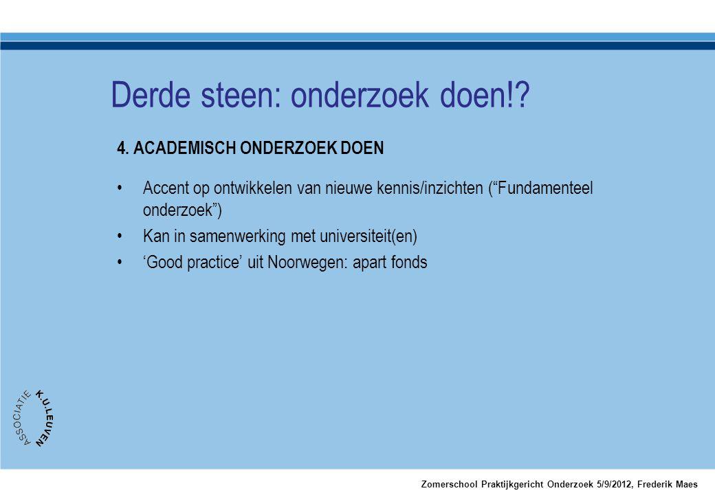 """4. ACADEMISCH ONDERZOEK DOEN •Accent op ontwikkelen van nieuwe kennis/inzichten (""""Fundamenteel onderzoek"""") •Kan in samenwerking met universiteit(en) •"""