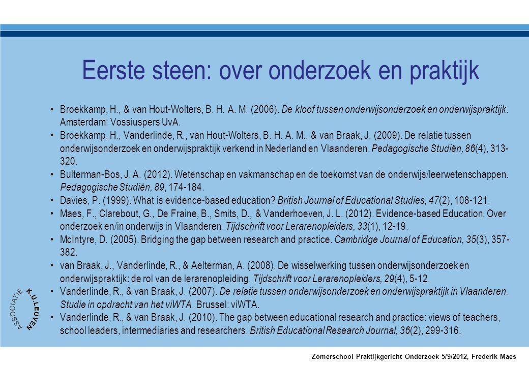•Broekkamp, H., & van Hout-Wolters, B. H. A. M. (2006). De kloof tussen onderwijsonderzoek en onderwijspraktijk. Amsterdam: Vossiuspers UvA. •Broekkam