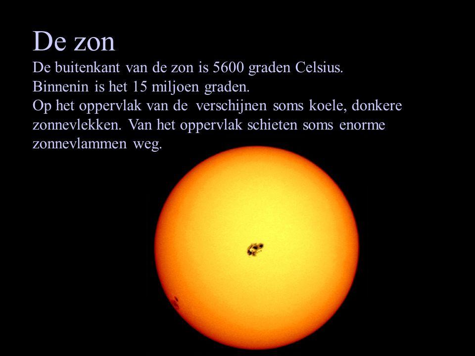 De zon De buitenkant van de zon is 5600 graden Celsius. Binnenin is het 15 miljoen graden. Op het oppervlak van de verschijnen soms koele, donkere zon
