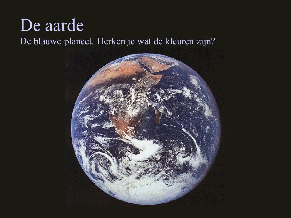 De aarde De blauwe planeet. Herken je wat de kleuren zijn?