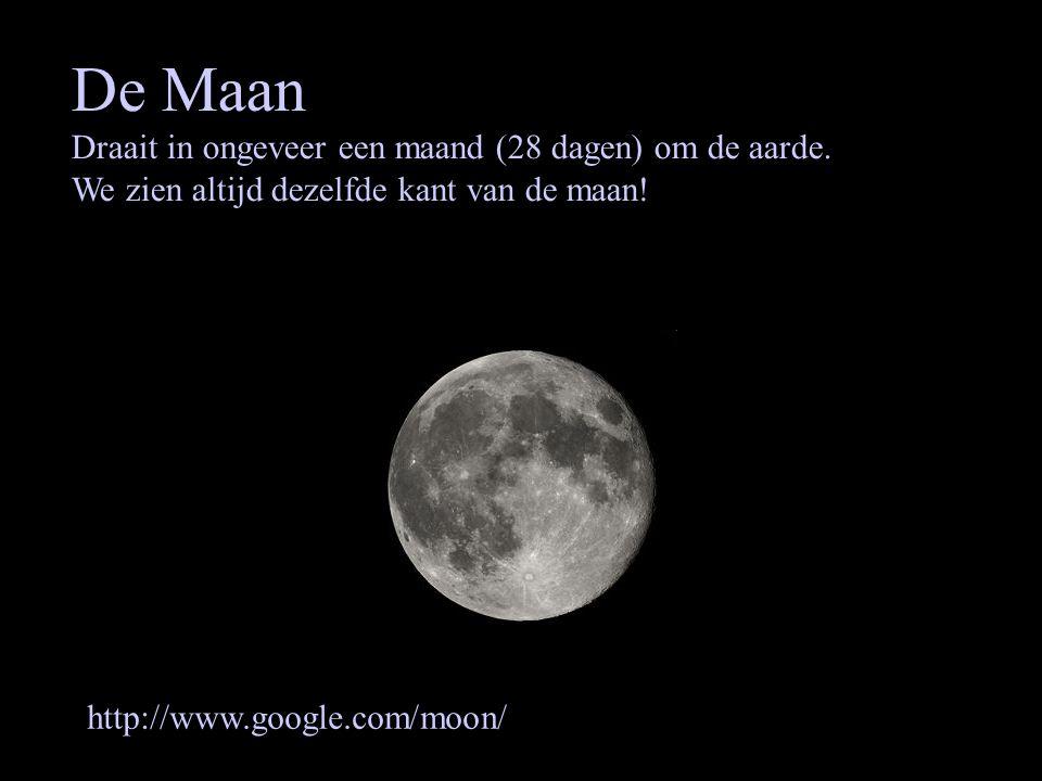 De Maan Draait in ongeveer een maand (28 dagen) om de aarde. We zien altijd dezelfde kant van de maan! http://www.google.com/moon/