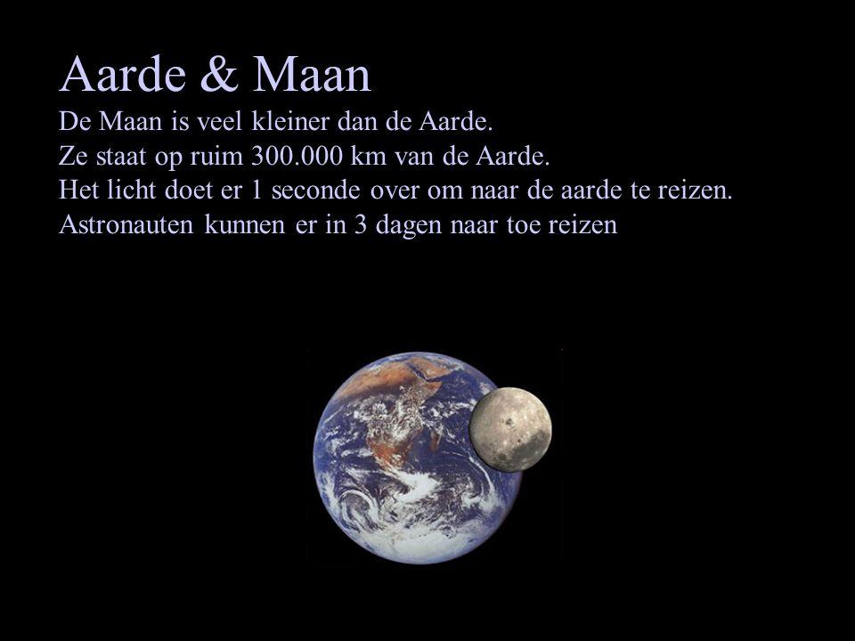Aarde & Maan De Maan is veel kleiner dan de Aarde. Ze staat op ruim 300.000 km van de Aarde. Het licht doet er 1 seconde over om naar de aarde te reiz
