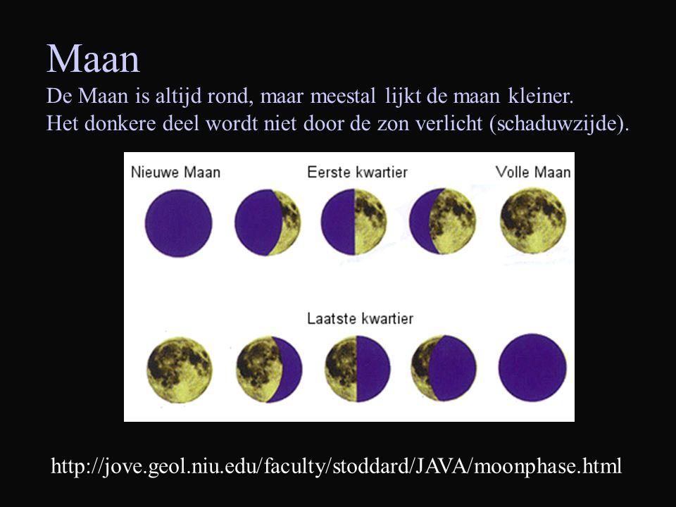 Maan De Maan is altijd rond, maar meestal lijkt de maan kleiner. Het donkere deel wordt niet door de zon verlicht (schaduwzijde). http://jove.geol.niu