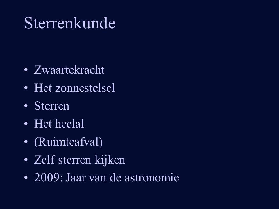 Sterrenkunde •Zwaartekracht •Het zonnestelsel •Sterren •Het heelal •(Ruimteafval) •Zelf sterren kijken •2009: Jaar van de astronomie