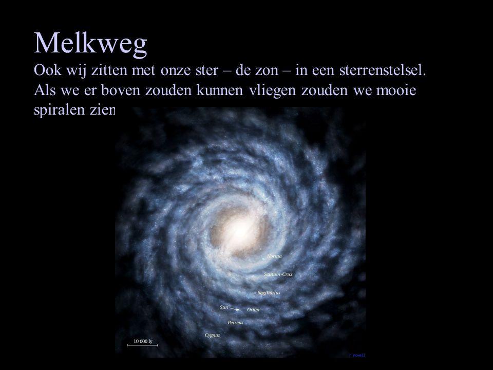 Melkweg Ook wij zitten met onze ster – de zon – in een sterrenstelsel. Als we er boven zouden kunnen vliegen zouden we mooie spiralen zien.