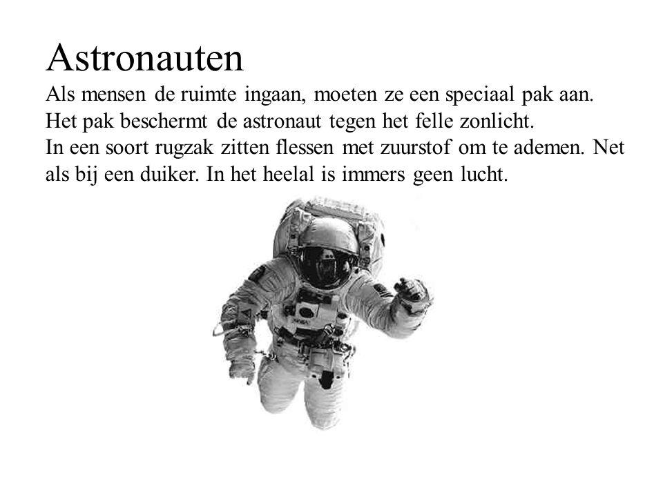 Astronauten Als mensen de ruimte ingaan, moeten ze een speciaal pak aan. Het pak beschermt de astronaut tegen het felle zonlicht. In een soort rugzak
