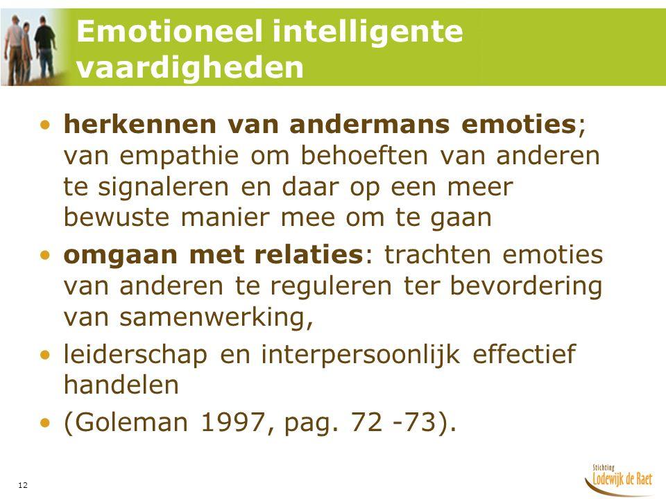 12 •herkennen van andermans emoties; van empathie om behoeften van anderen te signaleren en daar op een meer bewuste manier mee om te gaan •omgaan met relaties: trachten emoties van anderen te reguleren ter bevordering van samenwerking, •leiderschap en interpersoonlijk effectief handelen •(Goleman 1997, pag.