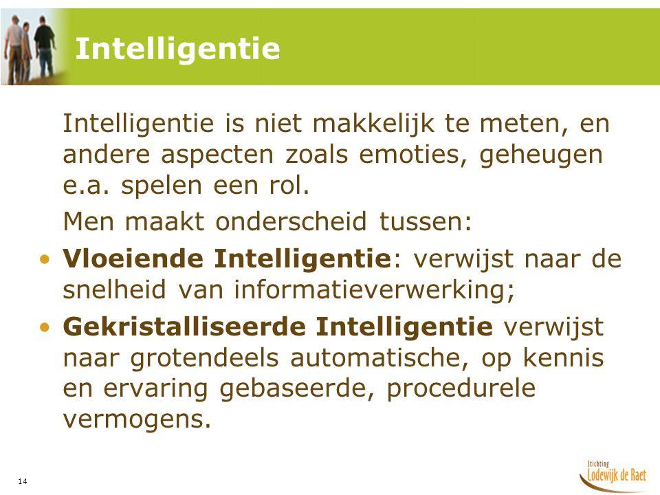 14 Intelligentie is niet makkelijk te meten, en andere aspecten zoals emoties, geheugen e.a.