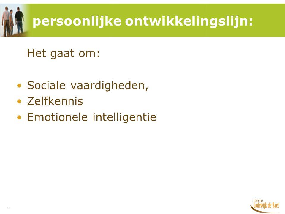 9 Het gaat om: •Sociale vaardigheden, •Zelfkennis •Emotionele intelligentie persoonlijke ontwikkelingslijn: