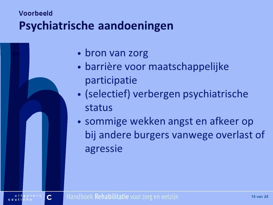 [Hier titel van boek] [Hier plaatje invoegen] 14 van 24 Voorbeeld Psychiatrische aandoeningen • bron van zorg • barrière voor maatschappelijke participatie • (selectief) verbergen psychiatrische status • sommige wekken angst en afkeer op bij andere burgers vanwege overlast of agressie