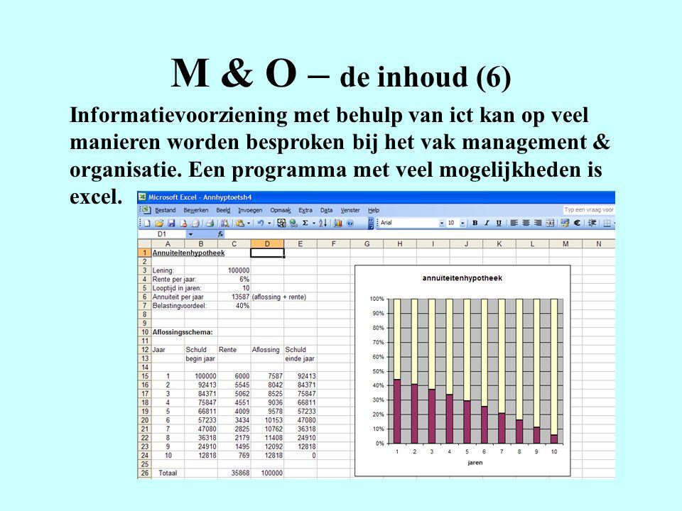 M & O – de inhoud (6) Informatievoorziening met behulp van ict kan op veel manieren worden besproken bij het vak management & organisatie.