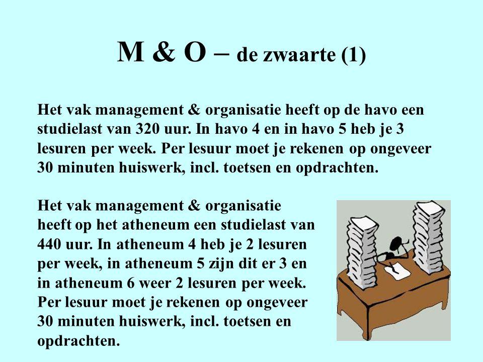 M & O – de zwaarte (1) Het vak management & organisatie heeft op de havo een studielast van 320 uur.