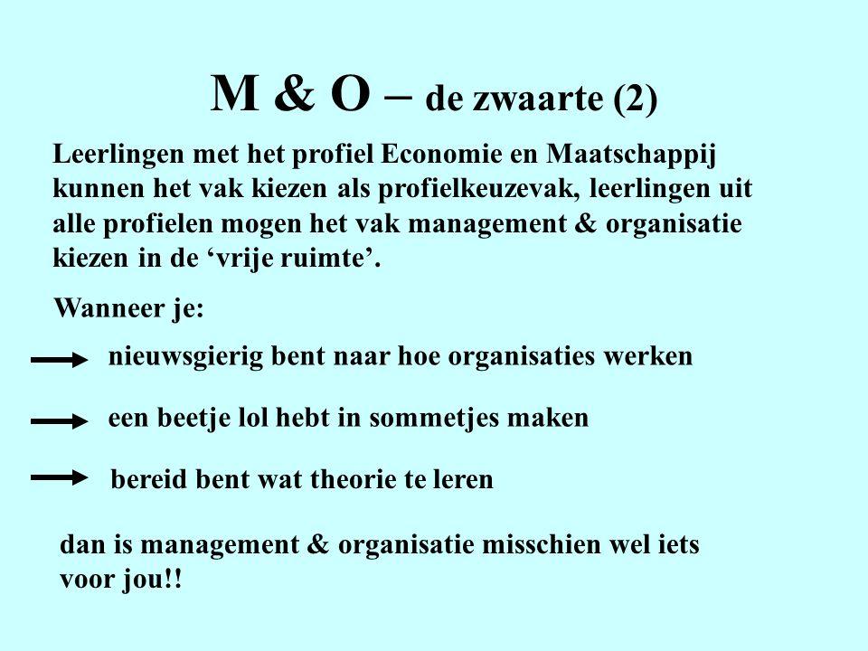 M & O – de zwaarte (2) Leerlingen met het profiel Economie en Maatschappij kunnen het vak kiezen als profielkeuzevak, leerlingen uit alle profielen mogen het vak management & organisatie kiezen in de 'vrije ruimte'.