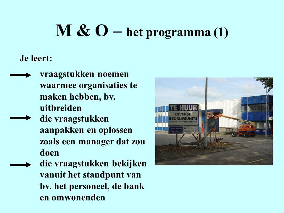 M & O – het programma (1) Je leert: vraagstukken noemen waarmee organisaties te maken hebben, bv.