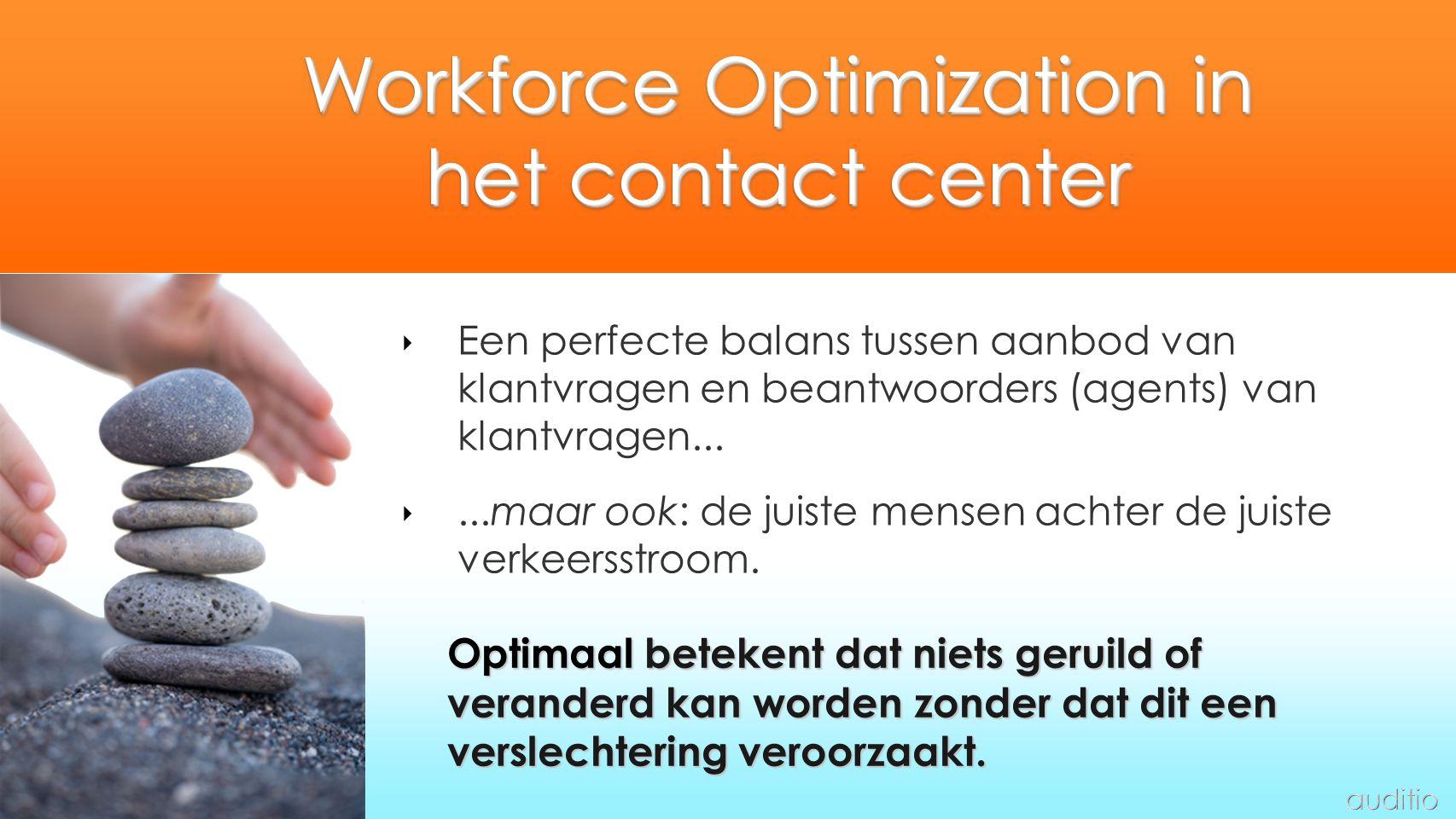 Workforce Optimization in het contact center ‣ Een perfecte balans tussen aanbod van klantvragen en beantwoorders (agents) van klantvragen... ‣...maar