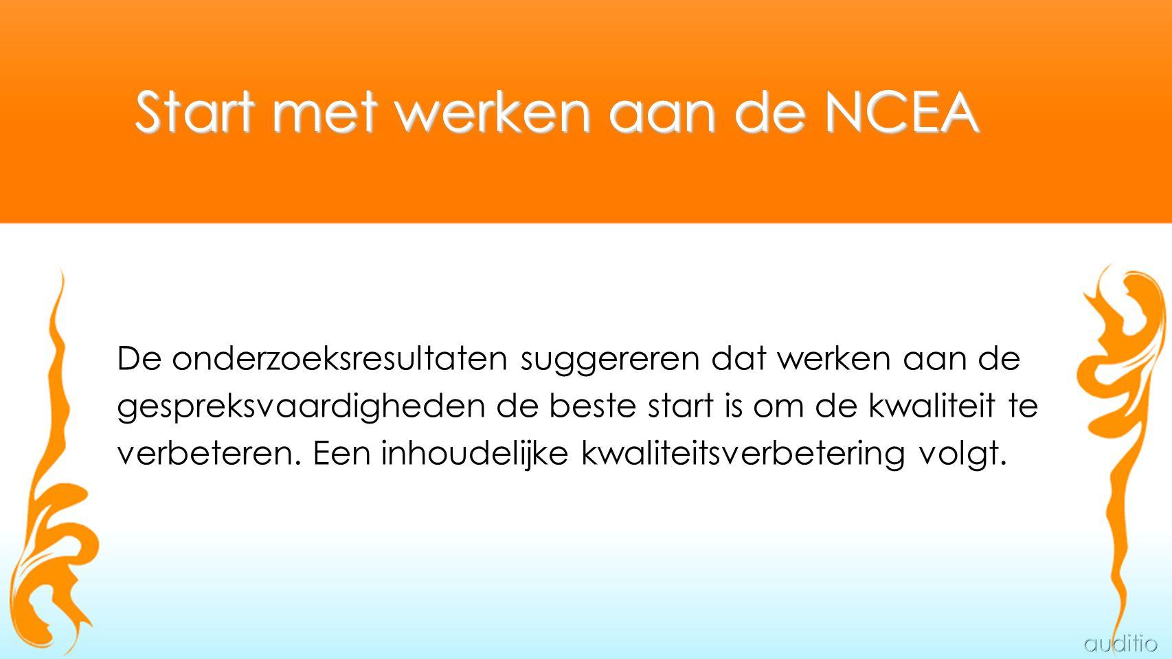 Start met werken aan de NCEA De onderzoeksresultaten suggereren dat werken aan de gespreksvaardigheden de beste start is om de kwaliteit te verbeteren.