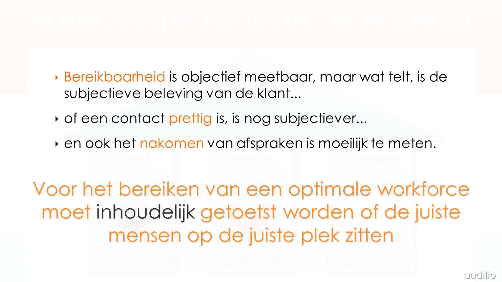 ‣ Bereikbaarheid is objectief meetbaar, maar wat telt, is de subjectieve beleving van de klant...
