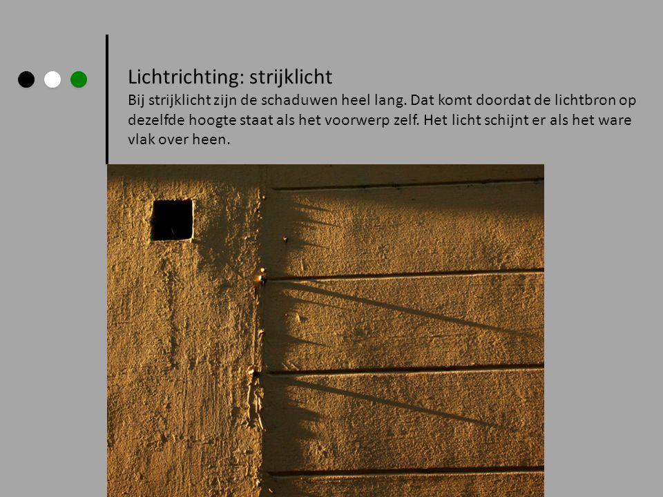 Lichtrichting: strijklicht Bij strijklicht zijn de schaduwen heel lang. Dat komt doordat de lichtbron op dezelfde hoogte staat als het voorwerp zelf.