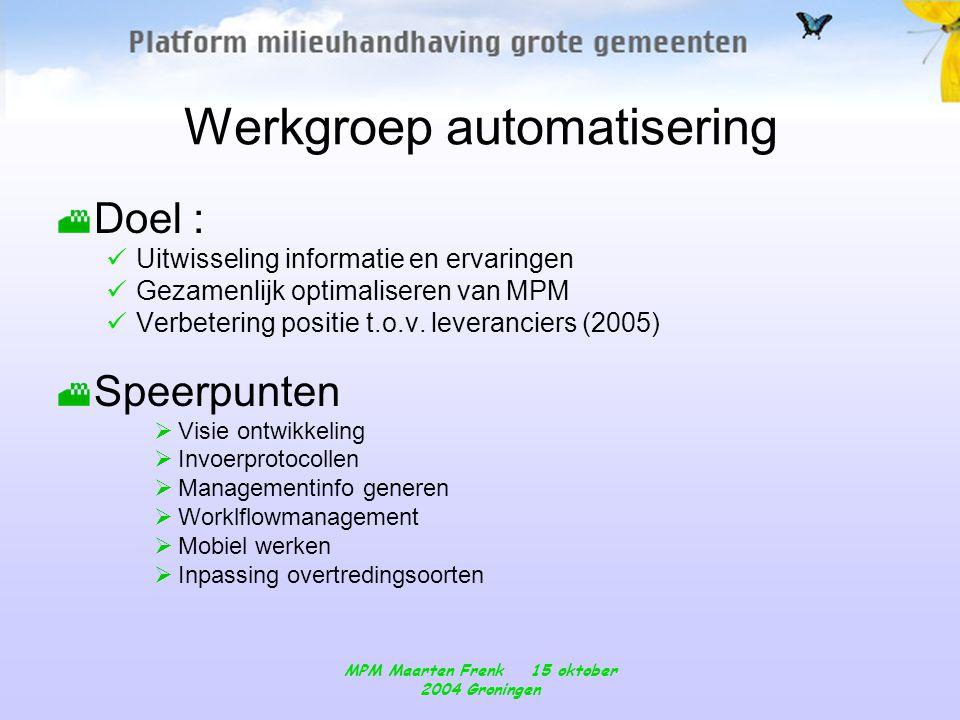 MPM Maarten Frenk 15 oktober 2004 Groningen Werkgroep automatisering Doel :  Uitwisseling informatie en ervaringen  Gezamenlijk optimaliseren van MPM  Verbetering positie t.o.v.
